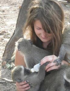 Myself feeding orphans at the Vervet Monkey Foundation